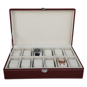 Anything & Everything Watch Box Oragnizer 12 Slots (Red Wine)