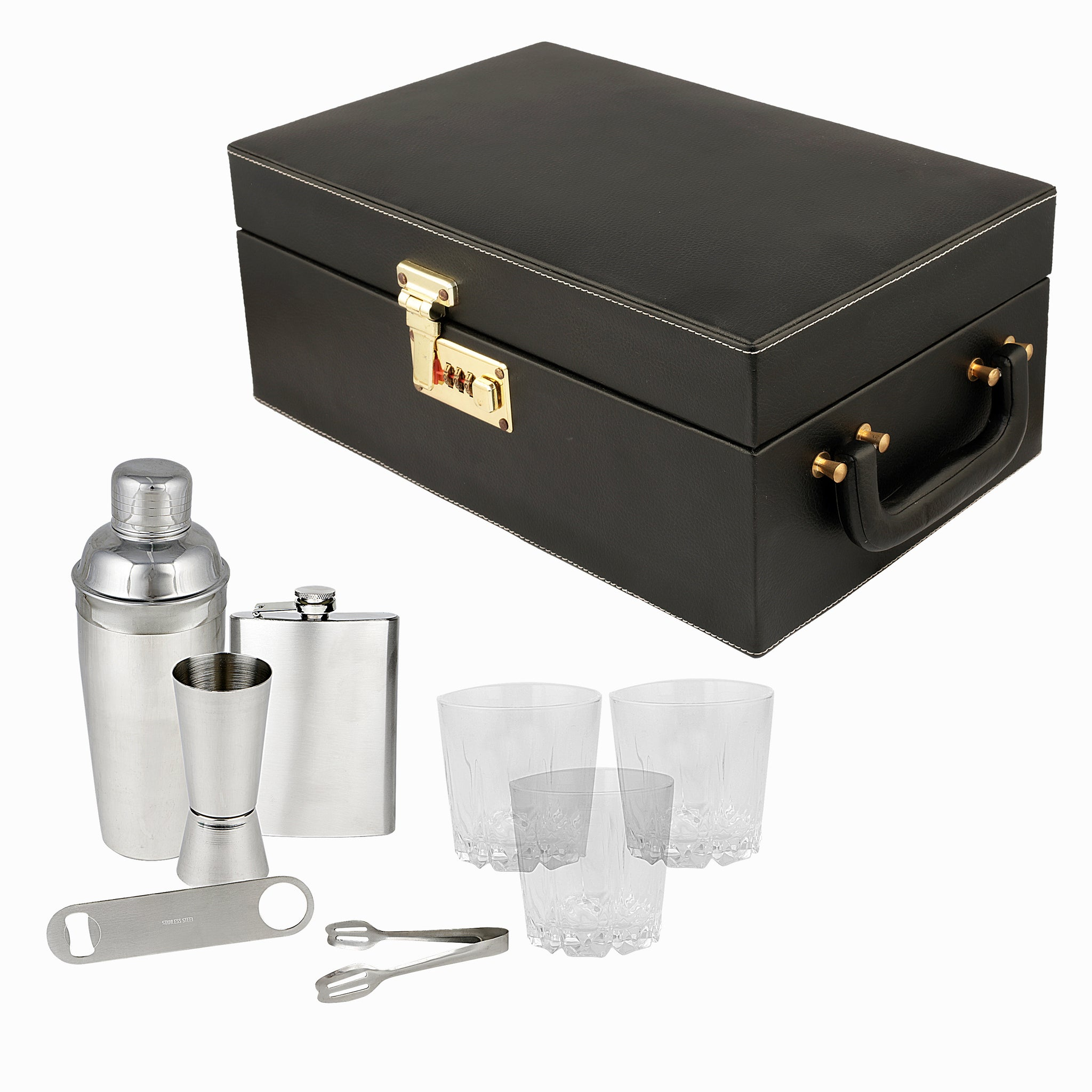 Anything & Everything Portable Cocktail Bar Accessories Set | Portable Cocktail Bar Set | Travel Bar Set | Portable Leatherette Bar Set | Wine Case | Whisky Case - Black & Black (Holds 03 Whisky Glasses)