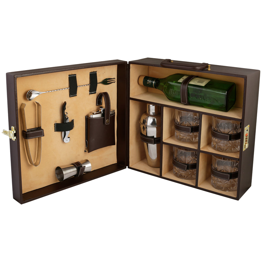 Anything & Everything Bar Set | Portable Leatherette Bar Set | Wine Case | Whisky Case | Wooden Bar Set for Picnic | Portable Bar Accessories Set (Holds 01 Bottle & 04 Whisky Glasses) (Brown & Beige)