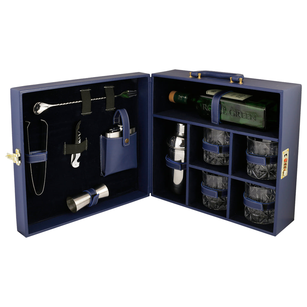 Anything & Everything Bar Set | Portable Leatherette Bar Set | Wine Case | Whisky Case | Wooden Bar Set for Picnic | Portable Bar Accessories Set (Holds 01 Bottle & 04 Whisky Glasses) (Blue & Blue)