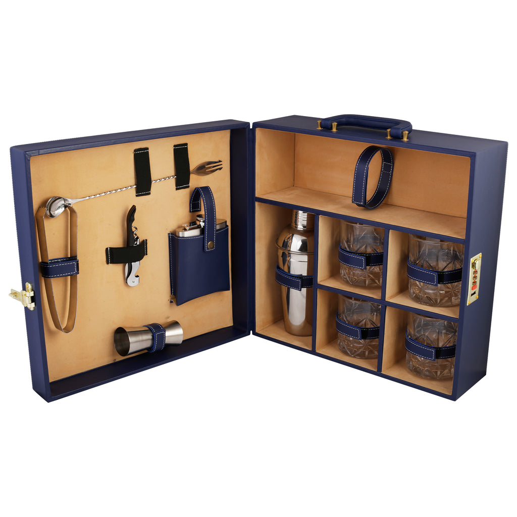 Anything & Everything Bar Set | Portable Leatherette Bar Set | Wine Case | Whisky Case | Wooden Bar Set for Picnic | Portable Bar Accessories Set (Holds 01 Bottle & 04 Whisky Glasses) (Blue & Beige)