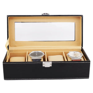 Anything & Everything Watch Box | Watch Case | Watch Holder | Watch Organizer - Black - Holds 04 Watches - Transparent
