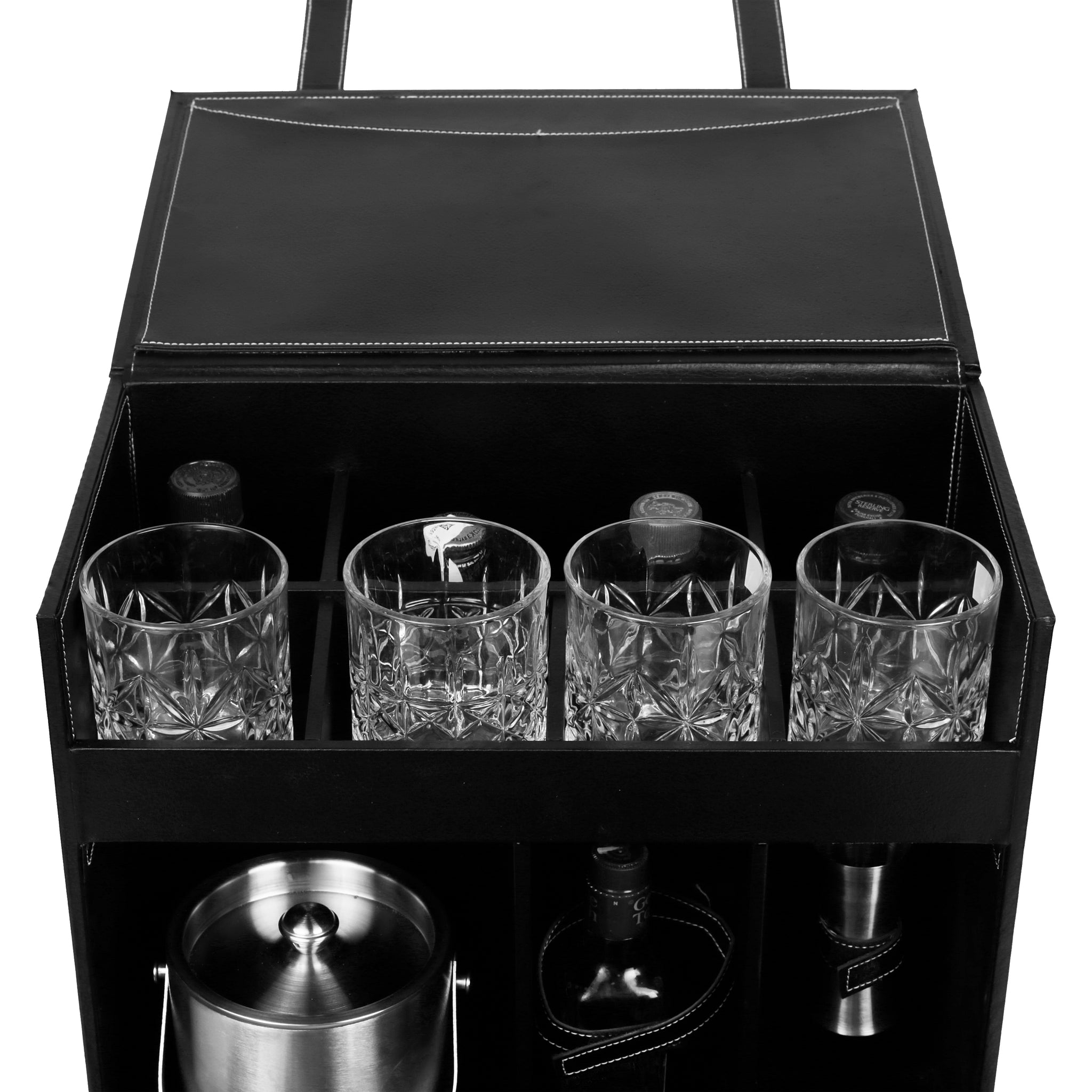 Anything & Everything Table Top Vegan Leather Portable Bar Accessories Set with 4 Glasses | Ice Bucket | Shaker | Peg Measurer | Ice Tong | Muddler | Bar Spoon | Flat Opener | Hip Flask (Black & Black)