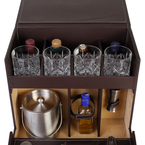 Anything & Everything Table Top Vegan Leather Portable Bar Accessories Set with 4 Glasses | Ice Bucket | Shaker | Peg Measurer | Ice Tong | Muddler | Bar Spoon | Flat Opener | Hip Flask (Brown & Beige)