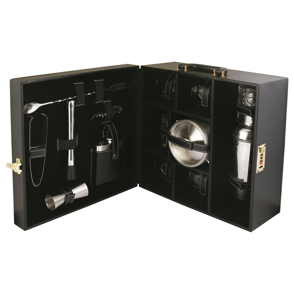 Anything & Everything Bar Accessories Mega Bar Set Portable Leatherette Briefcase Bar Set Bar Set Bar Set for Picnic Bar Set for Travel Bar Set for Car Whiskey Glasses (Black & Black)