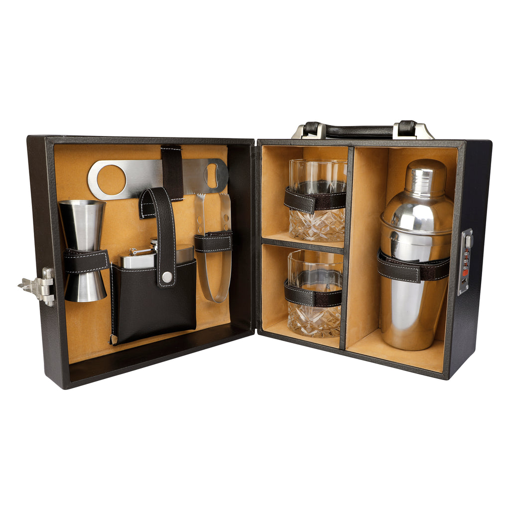 Anything & Everything Bar Accessories | Mini Bar Set | Portable Leatherette Briefcase Bar Set | Bar Set | Bar Set for Picnic | Bar Set for Travel | Bar Set for car | Whiskey Glasses (Brown & Beige)