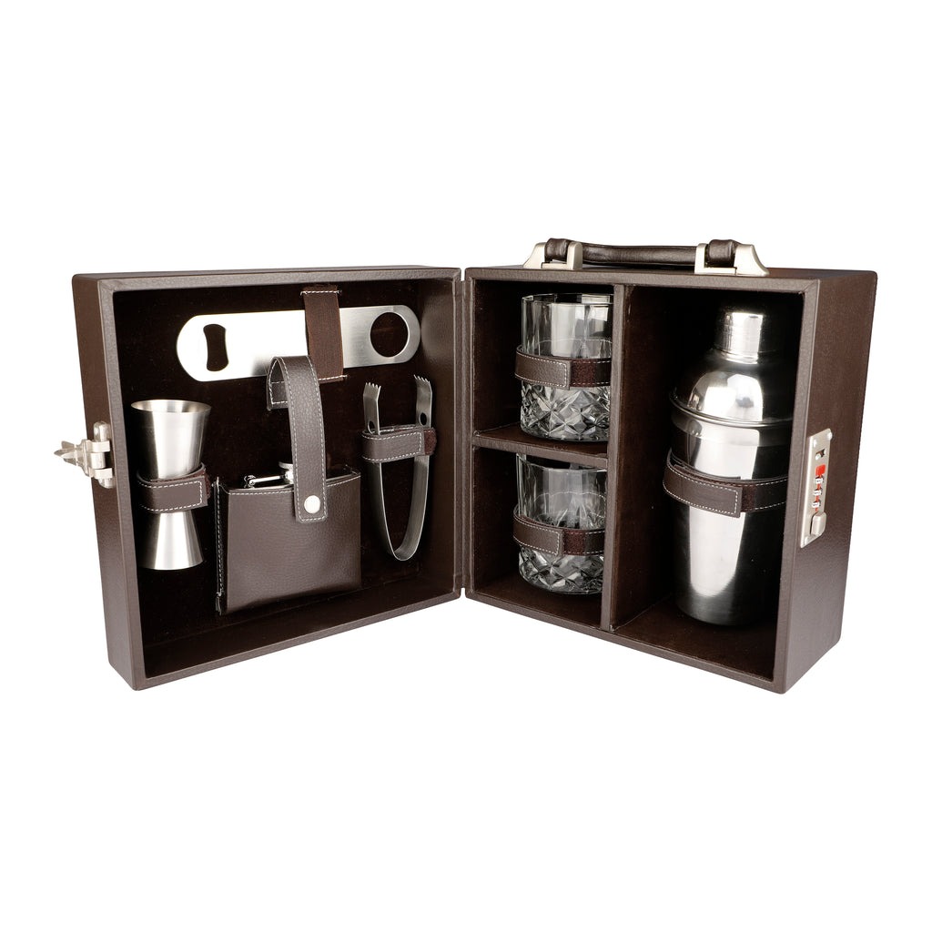 Anything & Everything Bar Accessories | Mini Bar Set | Portable Leatherette Briefcase Bar Set | Bar Set | Bar Set for Picnic | Bar Set for Travel | Bar Set for car | Whiskey Glasses (Brown & Brown)
