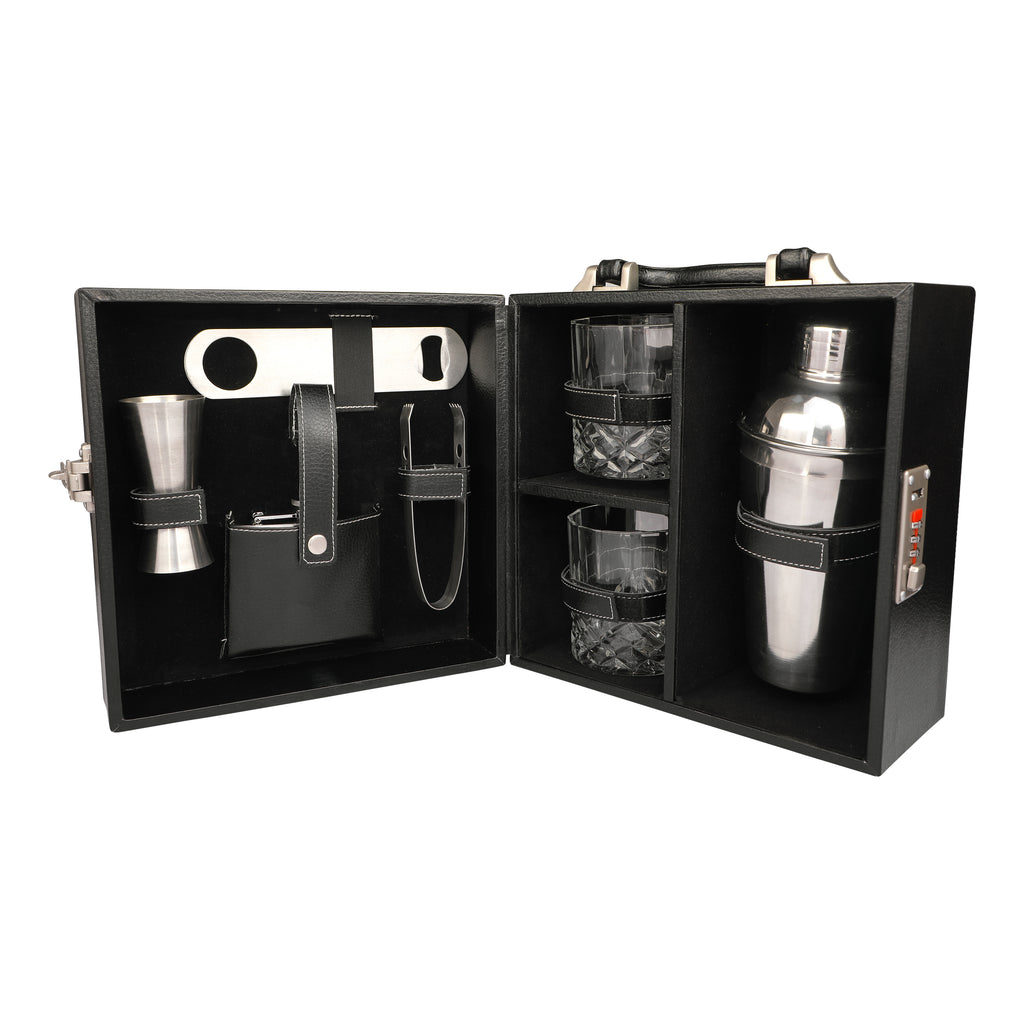 Anything & Everything Bar Accessories | Mini Bar Set | Portable Leatherette Briefcase Bar Set | Bar Set | Bar Set for Picnic | Bar Set for Travel | Bar Set for car | Whiskey Glasses (Black & Black)