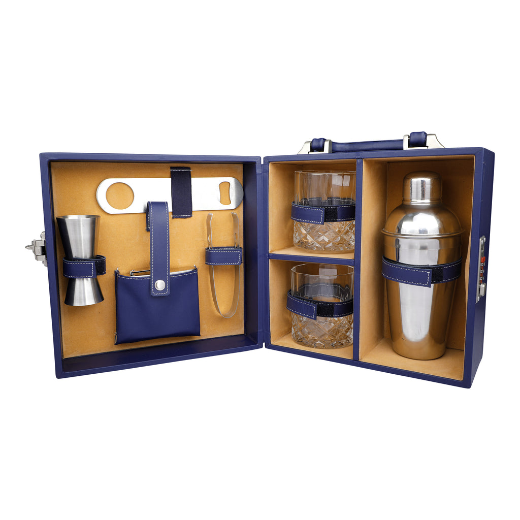 Anything & Everything Bar Accessories | Mini Bar Set | Portable Leatherette Briefcase Bar Set | Bar Set | Bar Set for Picnic | Bar Set for Travel | Bar Set for car | Whiskey Glasses (Blue & Beige)