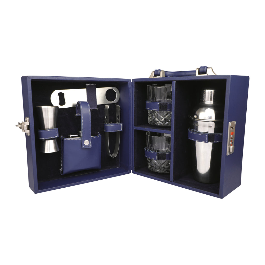 Anything & Everything Bar Accessories | Mini Bar Set | Portable Leatherette Briefcase Bar Set | Bar Set | Bar Set for Picnic | Bar Set for Travel | Bar Set for car | Whiskey Glasses (Blue & Blue)