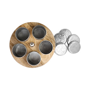 Anything & Everything Wooden Spice Box, Wooden Spice Container, Round Powder Container Set with lid for Storage Tabletop | Aluminum with Silver Plating Finish & Mango Wood (5 Jars)