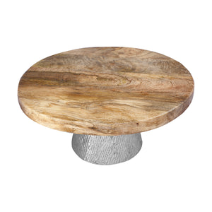 Anything & Everything Natural Wooden Handcrafted Cake Stand/Dessert Stand Pedestal for Dining Table/Parties for Serving Cake, Dessert, Pizza, Cup Cakes, Muffins - Silver
