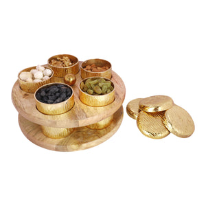 Anything & Everything Wooden Spice Box, Wooden Spice Container, Round Powder Container Set with lid for Storage Tabletop | Aluminum with Gold Plating Finish & Mango Wood (5 Jars)