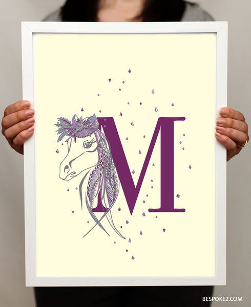 horse and letter custom print