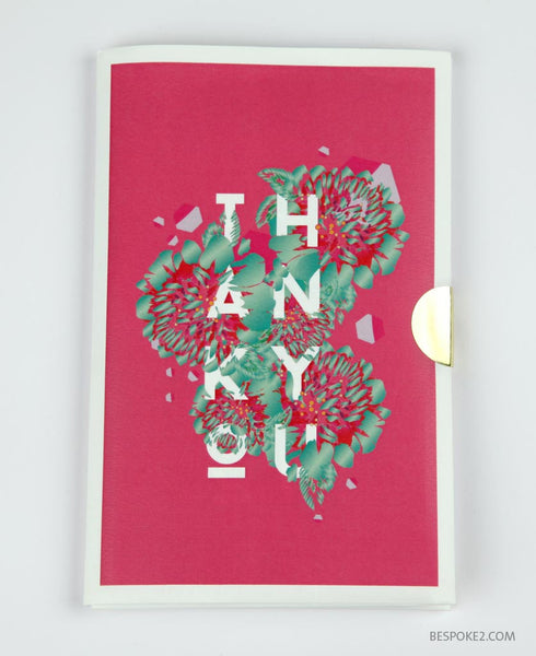 embossed thank you note card set