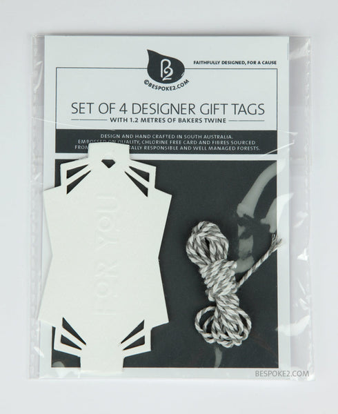 for you embossed designer gift tag set (includes 4)