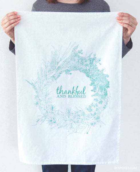 thankful and blessed tea towel