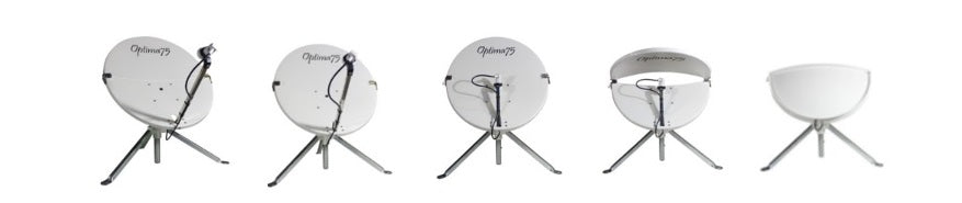 Optima75T Fold in Half Portable Fibreglass Satellite Dish