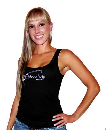 Tank Top with Fishing Design in Black