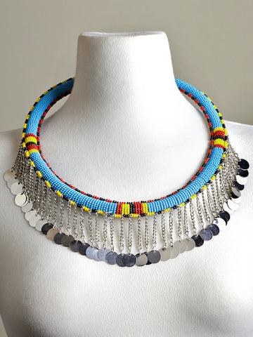 Tube Necklace - Blue