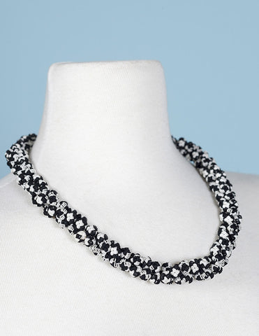 Black and White Agave Cluster Necklace