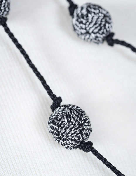 Black Hills Black and White Single Ball Wrap Necklace