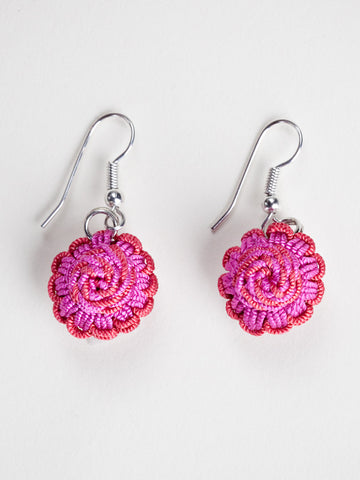 Blushing Rose Agave Jacquard Ball Earring
