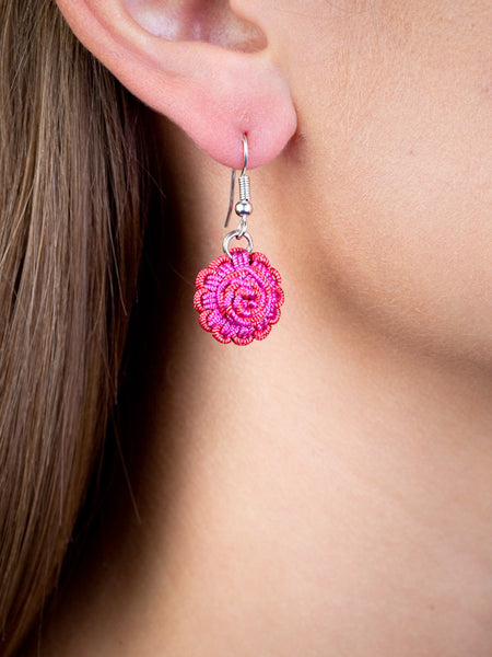 Red Rose Agave Jacquard Ball Earring