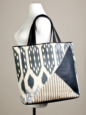 Geometric Ikat and Stripes Urban Tote