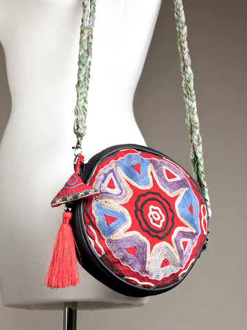 Red Floral Pattern Suzani Bag