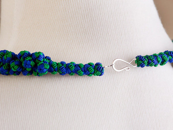 Blue and Green Cluster Agave Necklace