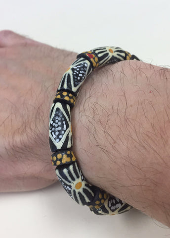 Black, White, and Yellow Glass Bead Stretchy Bracelet