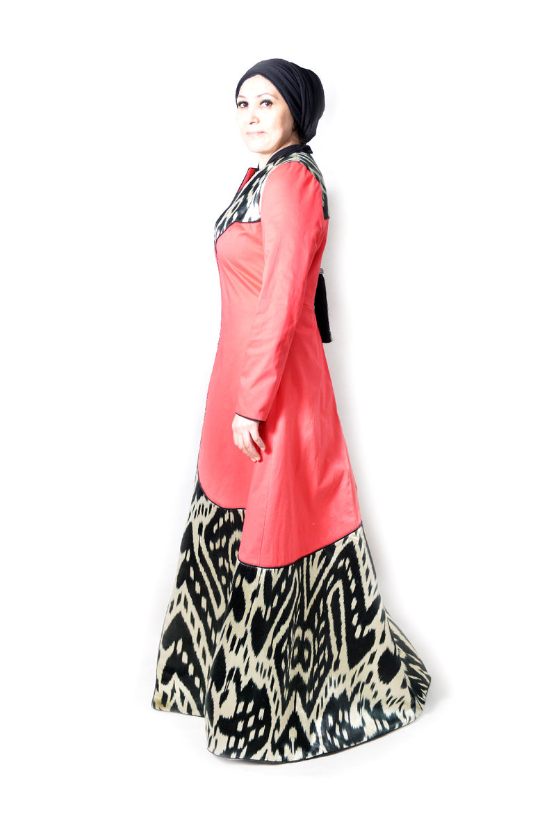 Red Kaftan with Black White Ikat Decoration