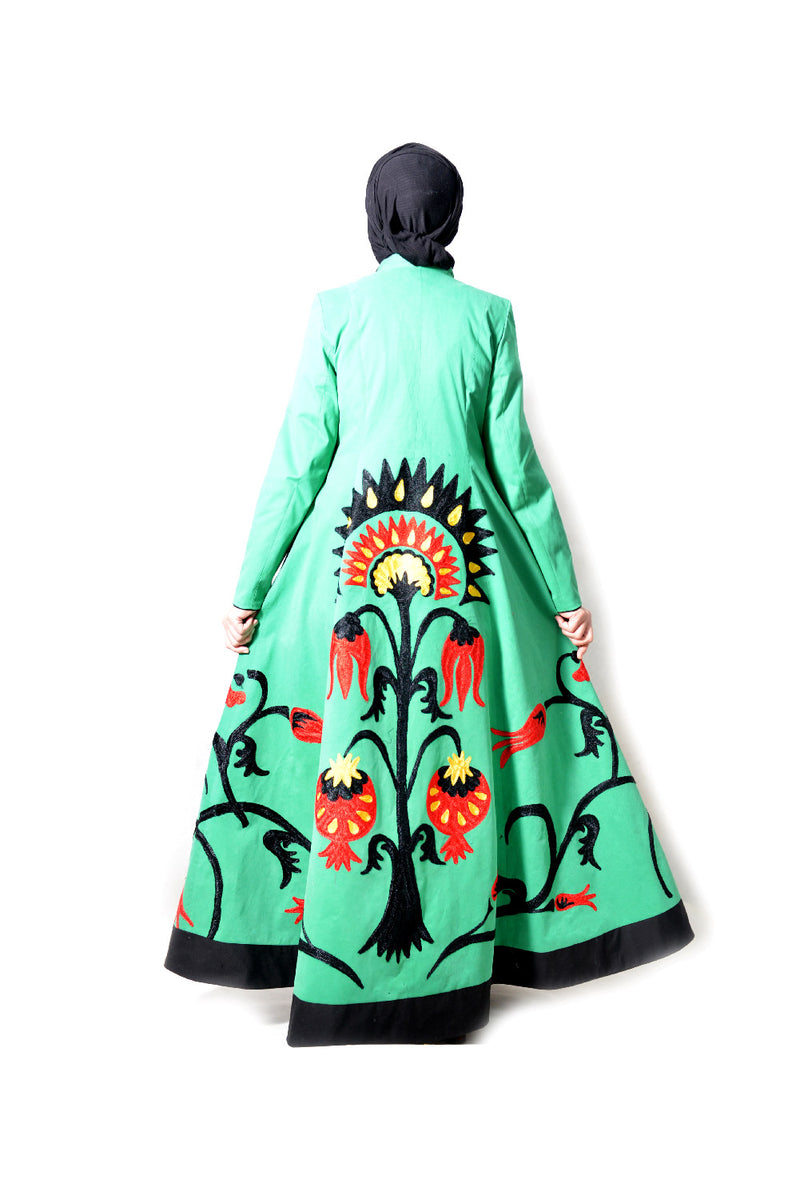 Green Full Embroidered Kaftan