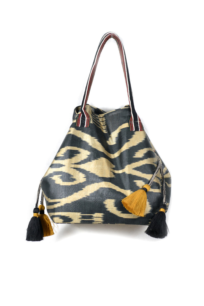 Expandable Ikat Bag with Tassels