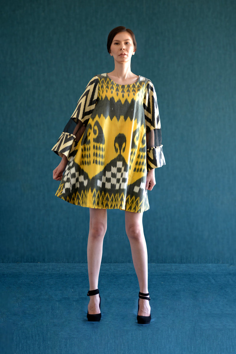 A-Line Silk Ikat Dress with Decorated Sleeve