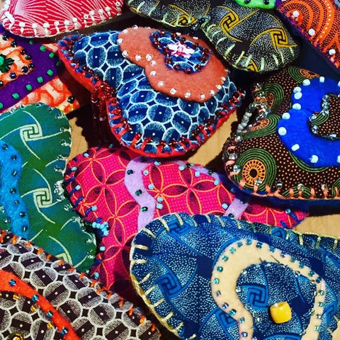 Assorted Batik Shwe Felt Heart Ornaments