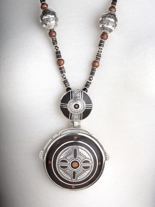Ebony and Copper Double Circle Pendant