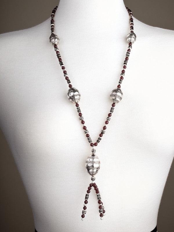Amethyst and Silver Beads Necklace