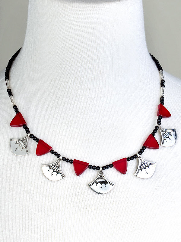Chat Chat Necklace with Crimson Glass