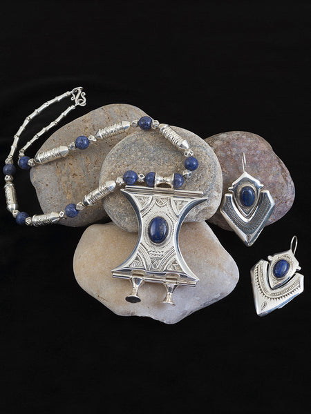 Desert Dreams Lapis and Silver Pendant, Necklace and Earring Set