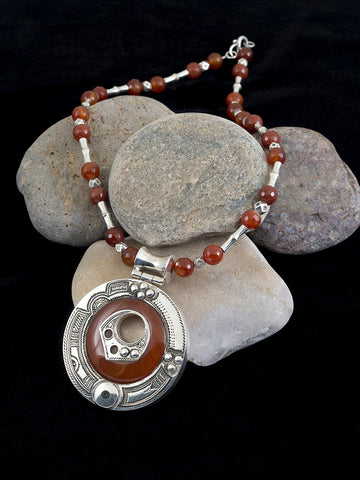 Carnelian and Silver Circle Pendant and Necklace