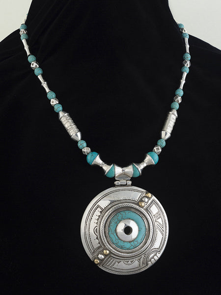 Eye to the Soul Turquoise and Silver Tuareg Pendant and Necklace