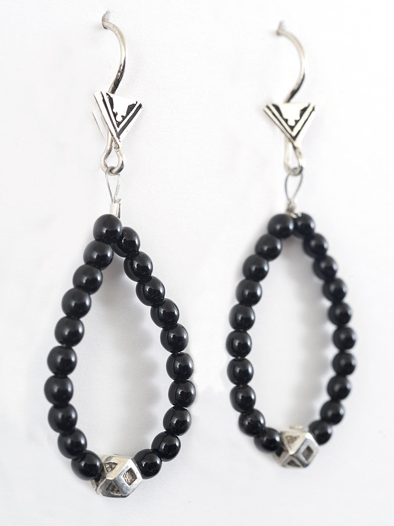 Single Silver Bead and Onyx Drop Loop Tuareg Earrings