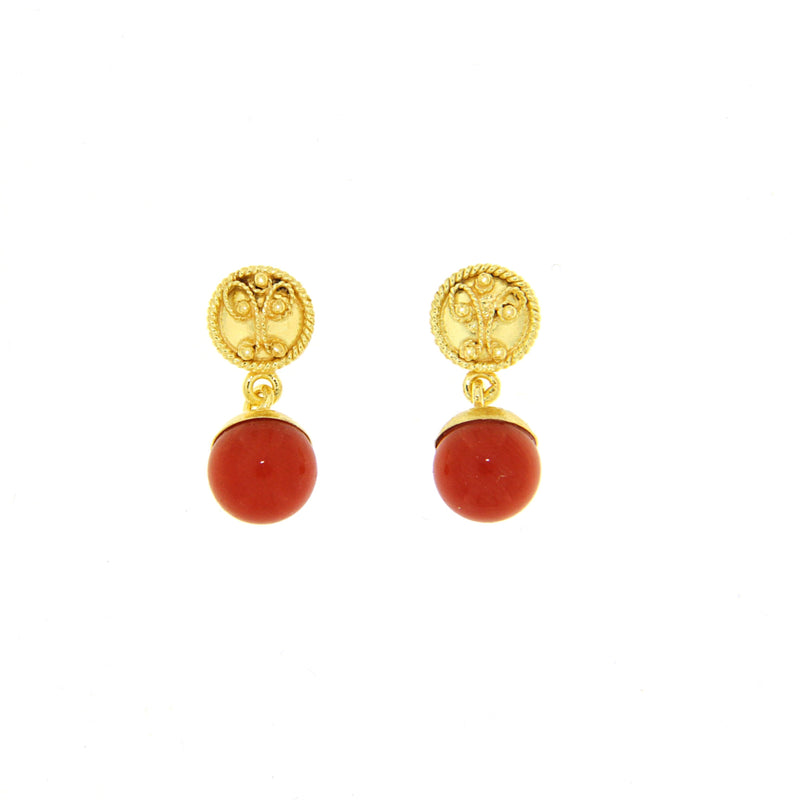 Corallo Bead Pendente Earrings