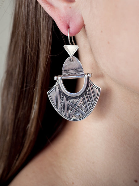 Hinged Shield Silver Earrings