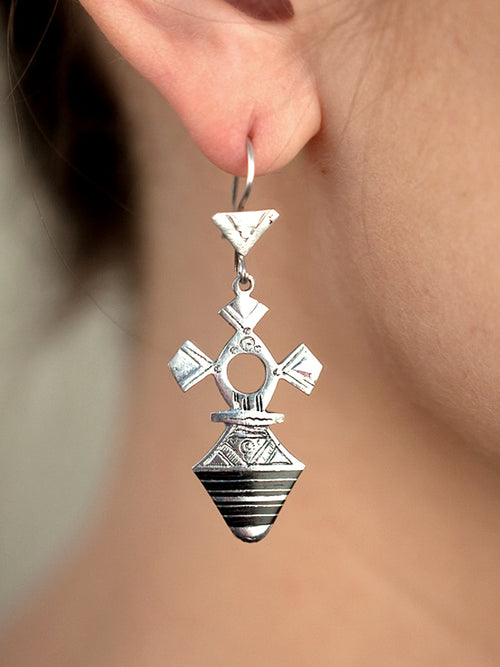Cross Drop Silver Earrings