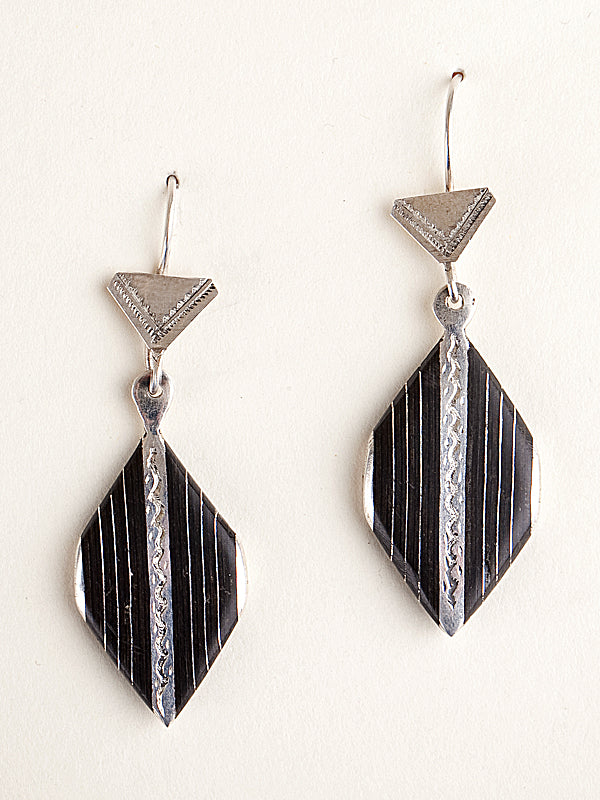 Onyx and Silver Diamond Earrings