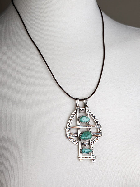 Silver and Turquoise Ladder Pendant