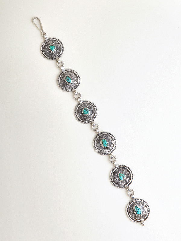 Silver and Turquoise Circle Bracelet